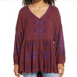 Free People Arianna Embroidered Tunic Top L NWT